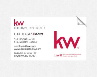 Keller Williams real estate deluxe glossy stickers - business card size - high end - crack and peel - FREE UPS ground shipping