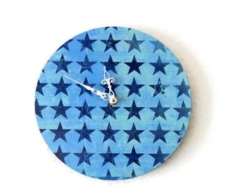 Baby Boy Wall Clock, Blue Star Clock, Home and Living, Home Decor, Decor and Housewares