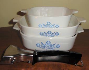 3 Vintage CORNING WARE Cornflower Blue Pattern Casserole Mixed Lot Oven Baking Dishes Bonus Handle