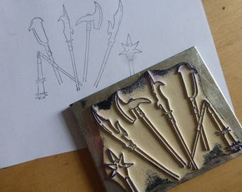 Medieval Weapons, French History Buffer Stamp. Old French School.  Circa  1950's