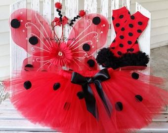 Ladybug Costume - Baby Girl Ladybug Tutu - Ladybug Tutu Halloween Costume - Ladybug Wings - Girls Ladybug Tutu and Accessories
