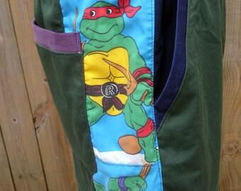 mens shorts patchwork retro CUSToM Dude Shorts NINjA TuRTLES TMNT hippie patchwork six pocket 30 32 34 36 38 40
