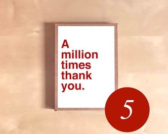 Thank You Card Set - Card Boxed Set - Card Gift Set - Bridesmaid Gift - Gift for Mom - A million times thank you.