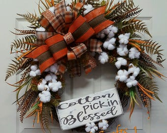 Fall Wreath,Fall Cotton Wreath,Fall Grapevine Wreath,Fall Cotton Pickin Blessed Wreath,Autumn Wreath, Fall Welcome Wreath