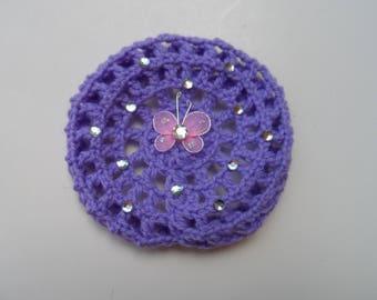 Small Bun Cover w/ Rhinestones & Butterfly, Many Colors, Bun Holder, Crocheted Bun Cover, Bun Net, Snood, Ballet, Dance