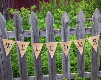 Welcome Burlap Banner, Rustic Country Home Decor, Welcome Pennant Banner, Shop Owner Sign,  Rustic  Decor, Primitive Decor, Mantel Decor