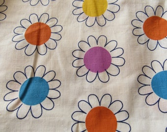 yellow, orange and purple floral print vintage cotton fabric -- 16 wide by 2 1/2 yards