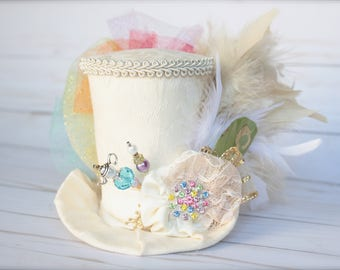 Vintage Alice in Wonderland Inspired Ivory and Rainbow - Mad Hatter Tea Party Top Hat Headband (or fascinator)