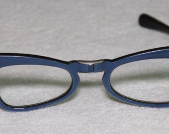 Vintage 1950's Blue Pearlized Folding Glasses