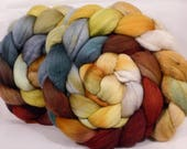 Hand dyed merino/ silk top for spinning - Winter Beech - (4.5  oz.) merino / tussah silk ( 50/ 50)