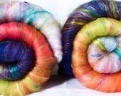 Roly-poly batts - Freesia -(3.7 oz.) 30% Cormo fleece, merino, rambouillet, silk, bamboo, silk noil, angelina