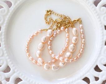 797 Pink pearl bracelet, Bridal pearls bracelet, Peach jewelry set, Bridal bracelet set, Bridal jewelry, Freshwater pearls bracelet set.