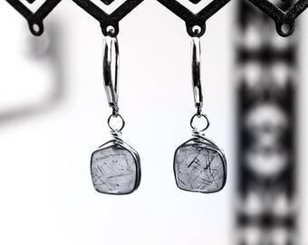848_ Minimalist earring, Black rutile earrings, Stone silver jewellery, Grey cube earrings, Handmade wire wrapped, Stone delicate earrings.