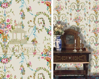 Dollhouse Miniature Wallpaper, Versailles, Scale One Inch