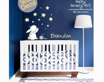 Nursery Wall Decals Boys Girls Nursery Wall Stickers Bunny Stars Personalized Baby Name Custom Color Big Wall Decal Artwork for the Nursery