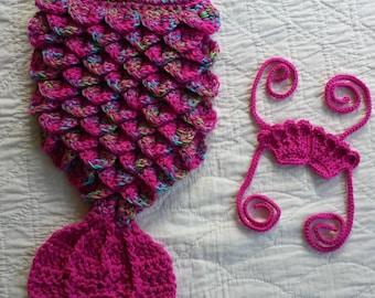 Crochet Mermaid Tail, Baby Mermaid Tail, Newborn Mermaid Tail, Infant Mermaid Tail, Baby Photo Prop, Mermaid Cocoon, Mermaid Costume, Pink