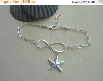 Christmas in July SALE Starfish Bracelet, Sterling Silver Infinity Bracelet with Starfish, Gifts for Best Friends, Beach wedding, Summer Jew