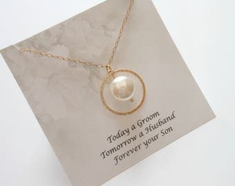 Gold Pearl Necklace, Gift for Grooms Mother, Wedding Jewelry, Mothers Necklace, Mother of the Groom Gift, Pearl Necklace, Wedding Momento