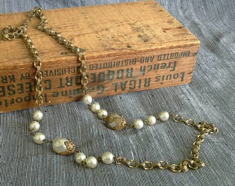 Vintage Miriam Haskell Chain and Baroque Pearl Necklace 1960s