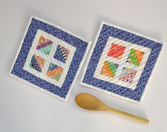 Quilted Pot Holders, Kitchen Decor, Hot Pads, Hostess Gift, Set of Two