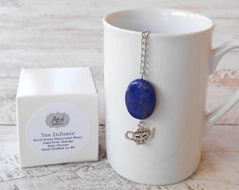 Tea Infuser, Teapot, Lead Free Charm, Lapis Lazuli Stone, Teapot Infuser, Tea Diffuser, Royal Blue, Tea Ball Infuser, Real Stone Bead