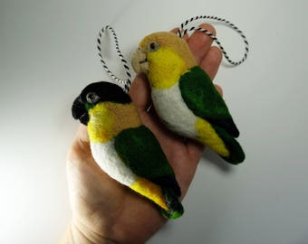 Black-headed Caique + White-bellied Parrot, Needle Felted Birds (set of two)