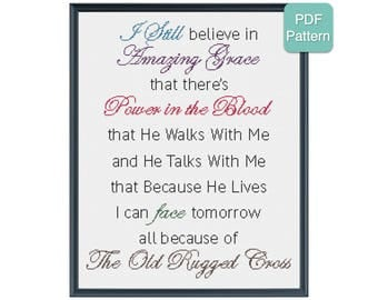 Cross Stitch Pattern - The Old Rugged Cross, Inspirational Cross Stitch, Religious Design, Amazing Grace, Power in the Blood, Home Decor