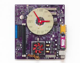 Geeky Wall clock - Computer purple motherboard - c5614