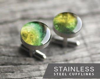 Universe Cufflink,  Stainless steel cuff link, Green Nebula Cuff Link, Wedding cuff links for groom, groomsmen