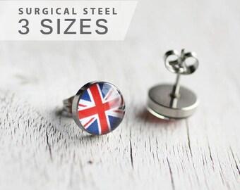 Union Jack earrings, United Kingdom, Flag earring studs, English flag post earrings, surgical steel studs, gift for him, men's gift idea