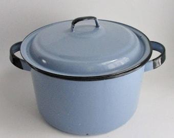 Vintage Enamelware Pot with Lid Blue Enamel Black Trim