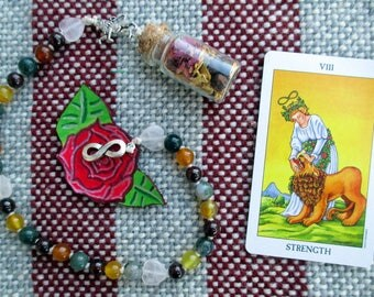 Strength Tarot Prayer Beads with Charm Bottle - self mastery, inner resources, power and manifestation