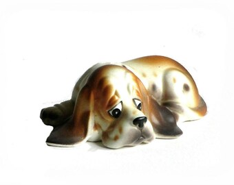 Napco Bassett Hound Dog Napcoware 9788 Figurine Sad Eyes Long Droopy Ears Gift for Dad Animal Lover