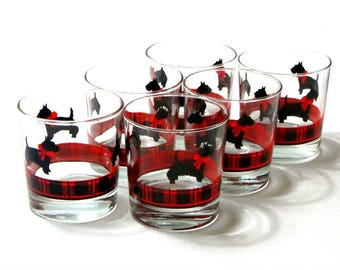 Scottie Dog Rocks Glasses Anchor Hocking Red and Black Plaid Band Fitz Set of Six