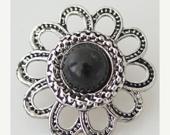 1 PC 18MM Black Rhinestones Flower Silver Snap Candy Charm KB7039 Cc0448
