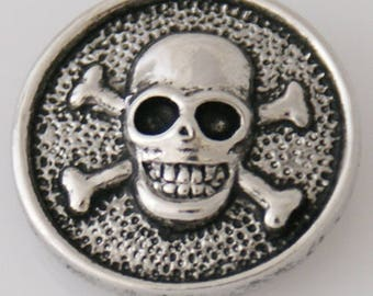 1 PC - 18MM Skull Crossbones Pirate Silver Charm for Snap Jewelry KB2168 CC3883