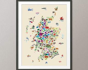 Scotland Animal Map for children and kids, Scotland Map, Art Print (2851)