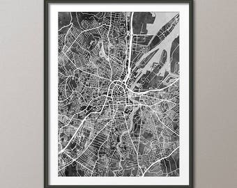 Belfast Map, Belfast Northern Ireland City Map, Art Print (3492)