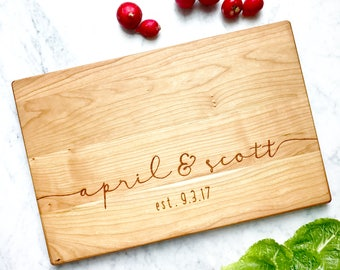 Cherry Custom Cutting Board with names and est date. Personalized chopping board for couples gift. Engagement, Wedding, Anniversary Gift.