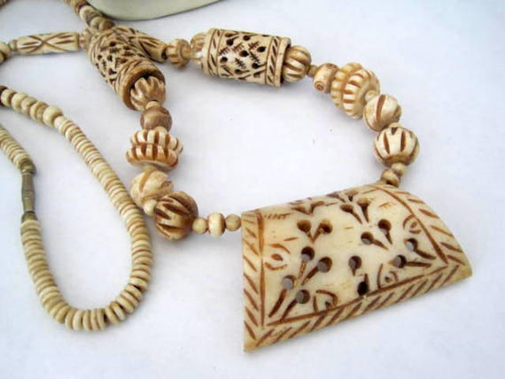 Tribal Boho Necklace - Carved Bone - 30 Inches -Off White Bone
