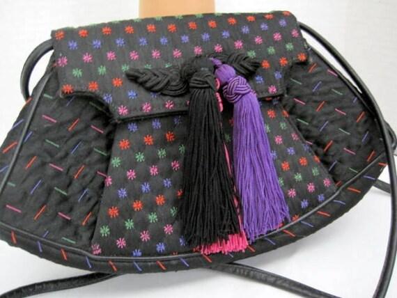 Designer Black Purse - Carey Adina 1988 NYC - Tassel Evening Bag- Classic  Black Purse -