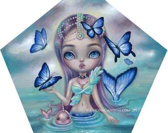 Forget me Not LIMITED EDITION print Simona Candini pop surrealism big eyes art mermaid fantasy narwhal kawaii