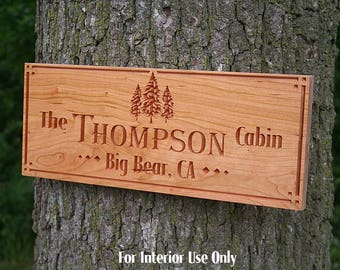 Family Name Sign, Custom Cabin Sign, Lakehouse Sign, Lake House Sign, Wooden Last Name Sign, Benchmark Custom Signs, Cherry TE
