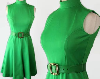 60s 70s Butte Knit Dress, Fit and Flare, Mod, Belt, Mad Men Style