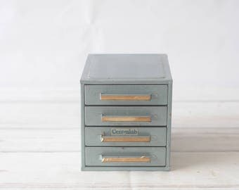 Vintage Small Blue Green Parts Tool Metal 4 Drawer Cabinet Chest Box Stackable