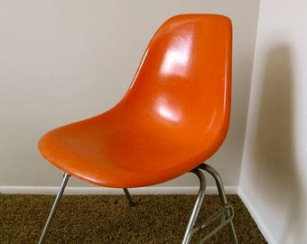 Orange Eames Chair Fiberglass Side Chair Stamped Herman Miller Mid Century Chair