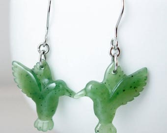 ON SALE Green Jade Hummingbird Earrings - Emerald Green - Sterling Silver - 14kt Gold Fill