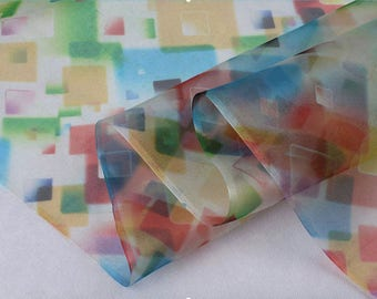 "Silk Organza Fabric, 53"" 6mm, colorful blocks, 100% Fine Silk structured organza Fabric for Summer Dresses,Blouse, Skirt, by the yard"