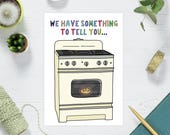 Bun in the Oven Card, Funny Pregnancy Baby Card - Pregnancy Announcement Cards - Funny Pregnancy Card