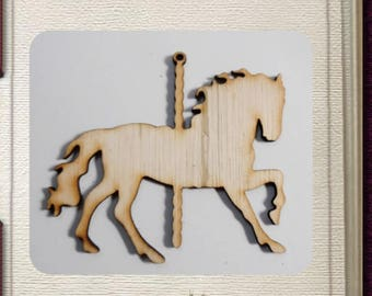 Carousel Horse Ornament - Laser Cut Wood